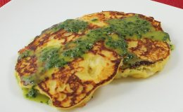 Squash and Corn Pancakes with Cilantro Dressing